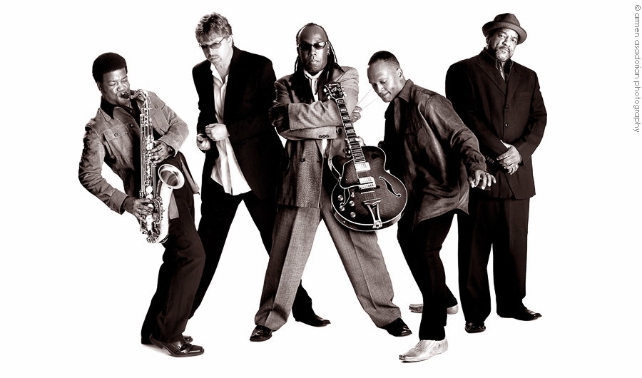 Black and white jazz band group photography